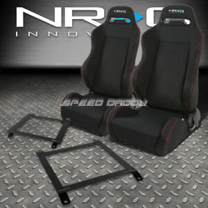 NRG 2 TYPE-R RED STITCHES  RACING SEATS+LOW MOUNT BRACKET FOR 89-97 MIATA MX5