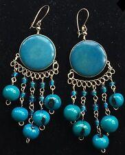 Bohocoho Lagenlook ECCENTRICO Boho Gypsy blu / turchese e argento TAGUA pendenti orecchini