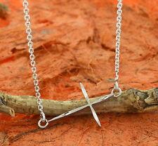 Side Cross Necklace -925 Sterling Silver- Religious,Side Cross,Gift Idea,Silver