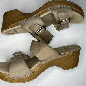 Dansko Womens Sophie Sandals Size Eur 39/US 8-8.5 Beige Leather Platform