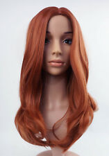 W66 Light Auburn Ginger Mix Slight Wavy Layered Full Wig Synthetic Skin Top