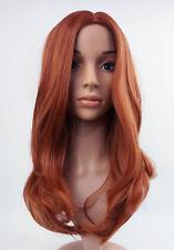 W66 LUCE Auburn GINGER Mix Leggero ONDULATA Layered COMPLETO parrucca sintetica Pelle Top