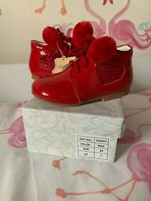 NEW COUCHE TOT - POPPY LEATHER PATENT BOOTS WITH GLITTER HEAR & POM POMS - UK 7