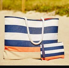 Brand new DSW Tote and Wristlet Striped Navy/White-New purse bag weekender beach