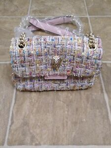 Betsey Johnson Handbags Multicolor tinsel sparkly Gold skull pink chain handles