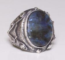 Antique Sterling silver mens ring, Labradorite Natural gemstone, handmade ring