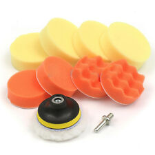 "10PCS 3"" Polishing Pad + Hand Buffer Set with Drill Adapter For Car Polish X6R6"
