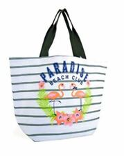 Large Grey And White Striped Beach Bag Flamingoes Secure Food Bag Clothes Bag