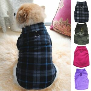 Pet Dog Fleece Harness Vest Jumper Sweater Coat Puppy Shirt Jacket ApparelXS-3XL