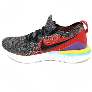 Nike Mens Epic React Flyknit 2 BQ8928-007 Gray Red Running Shoes Sneaker Sz 9.5