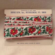 Vintage Embroidered Trim Sewing Red Floral 5 Plus Yards Crafts Embellishments