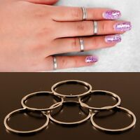 6 PACK Silver Plated Knuckle Midi Womens Stackable Rings Finger Band Sizes S M L
