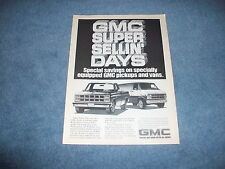 "1982 GMC Trucks and Vans Vintage Ad ""GMC Super Sellin' Days"""