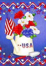 "PATRIOTIC PETUNIAS FLOWERS STARS WATERING CAN YARD GARDEN FLAG 12"" X 18"""