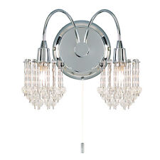 Endon Milieu 2lt wall chandelier light 33W Chrome plate & clear faceted beads