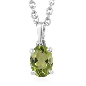 """Peridot Necklace Pendant Platinum Over 925 Sterling Silver Gift Size 20"""""""