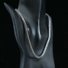 """16"""" 6mm, Vtg 925 Sterling Silver heavy long solid wheat chain necklace"""