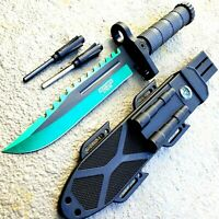 "13"" MILITARY TACTICAL Hunting FIXED BLADE SURVIVAL Knife Fire Starter SHARPENER"