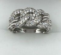 Judith Ripka 925 Sterling Silver .75ct Diamonique Textured Link Ring (BR016)