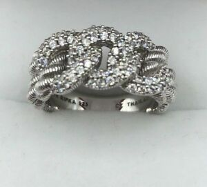 Judith Ripka 925 Sterling Silver .75ct Diamonique Textured Link Ring (BR015)