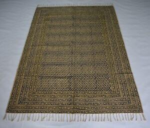 Handmade Oriental Jute Block Print Rug Guest Room Dhurrie 120x180 Cm DN-1340