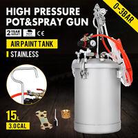 4 Gallon 3.0mm High Pressure Pot Paint Sprayer Dual Hose with Spray Gun Lacquer
