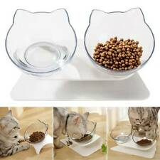 Pet Dog Puppy Cat Food Bowls Feeding With Holder Elevated Transparent Water Bowl
