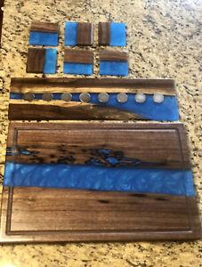 "18x12"" Walnut & Resin River Cutting Board & Magnet Knife Board & 6 Coasters BLUE"