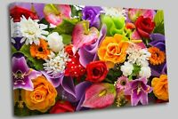 Bouquet of mixed flowers Canvas Wall Art Picture Print