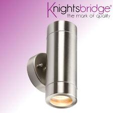 Knightsbridge Doppio Esterno IP65 Acciaio Inox su e giù Luce A Parete GU10