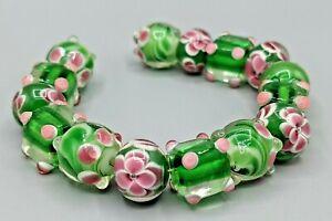 New 15 pc set Fine Murano Lampwork Glass Beads - 14mm Green & Pink- B-A555