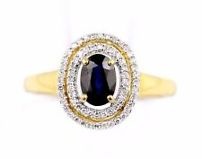 14k Yellow Gold Oval Cut Sapphire 0.50ct Diamond SI2 H Double Halo Ring Size 8