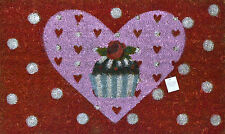 Gisela Graham Spotty Heart Cupcake Red Pink Novelty Picture Doormat 75x45cm
