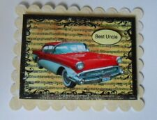 PACK 2 BEST UNCLE RED CADILAC CAR TOPPER EMBELLISHMENTS  FOR CARDS AND CRAFTS