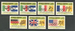 HONDURAS 1968, MEXICO OLYMPICS, Scott C429-C435, IMPERFORATE, MNH