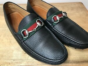 $590 - GUCCI DAMO Men's Leather Web Stripe/ Bit Black Driving Loafer Shoes, 6.5G
