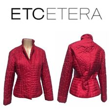 Etcetera Quilted Red Snap Front Tailored Women Jackets & Coats