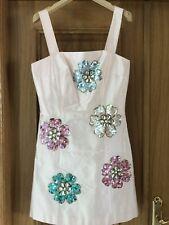 BLUMARINE BLUGIRL Blush Silk Sequin Appliqué de fleurs mini robe IT 42 UK 8