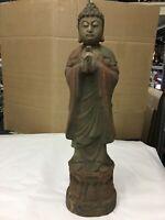 antica Statua cinese in legno scolpito e dipinto