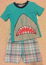 New Baby Boys Size 2T Shark Bite Tee T Shirt plaid shorts Outfit Set Toddler
