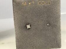 14K White Gold Princess Cut  Diamond Single Stud Earring (1)