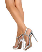 New Women Qupid Gladly41 Metallic PU Rhinestone T-Strap Platform Stiletto Sandal