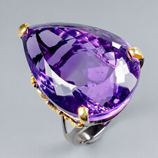 Handmade55ct+ Natural Amethyst 925 Sterling Silver Ring Size 8/R121467