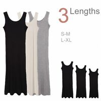 Women's Soft Stretchy Sleeveless Extra Long Loose Midi Cami Tank Long Slip Dress