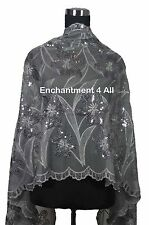 Elegant Lace Sheer Oblong Scarf Shawl Wrap w/ Sequin Floral Art Pattern, Gray