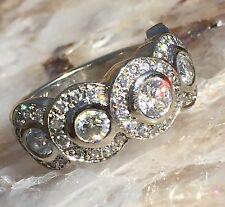 14 K White Gold 5 Bezel 2.38TCW  Diamond Halo Ring Size 7 #1298