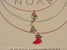 NEW-Avon  Tis the Season 3 Layer Charm Necklace-Red & Green-New In Box