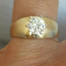 1 carat 14k Yellow Gold Solitaire round man made Diamond Engagement Ring S 5678