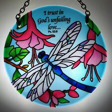 Joan Baker Hand painted Suncatcher-MC295R-Dragonfly & Fuchsias...Art Glass New