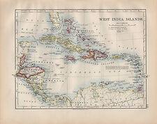 1900 VICTORIAN MAP ~ WEST INDIA ISLANDS JAMAICA CUBA HAITI SAN DOMINGO LEEWARD